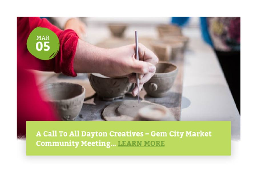 Gem City Market Website - Event Listing