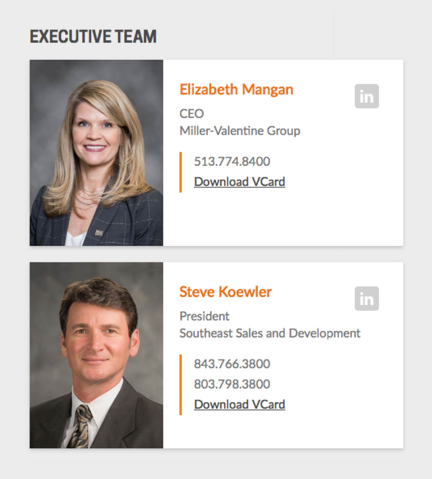 Miller-Valentine Group Website - Executive Team Bio Cards